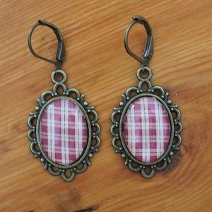 CUTE! Handmade Checkered Cabochon Earrings